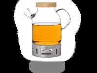 Kira Teekanne Glas mit Stövchen aus Edelstahl 1,6l