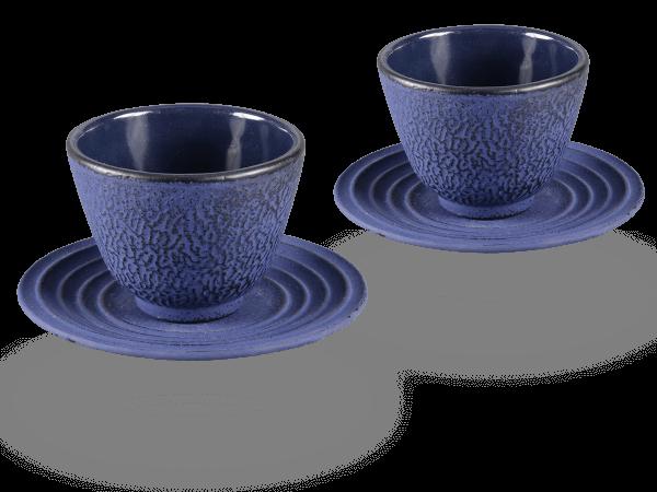 2 Gusseisen-Teecups Mika je 100ml und 2 Gusseisen-Untersetzer rund in marinblau