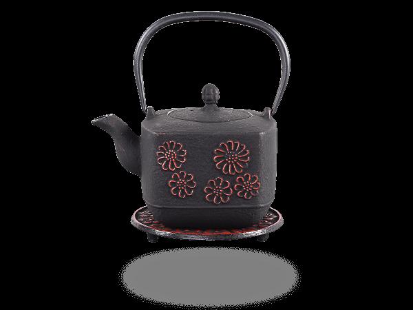 Teekanne Gusseisen Hiko 0,8l schwarz-rot mit Sieb