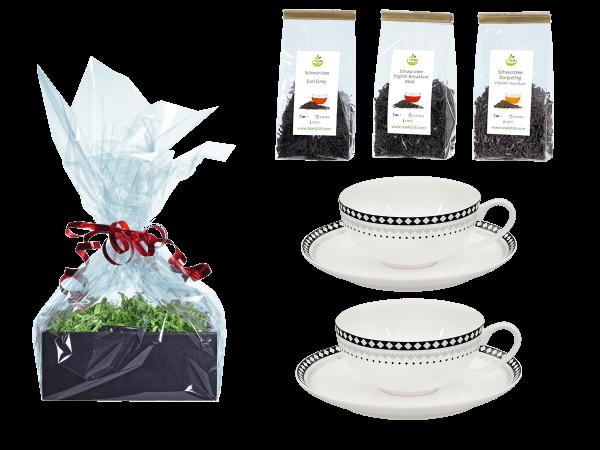 Tee Geschenk Teetassen, Fine Bone China, Rautendeko