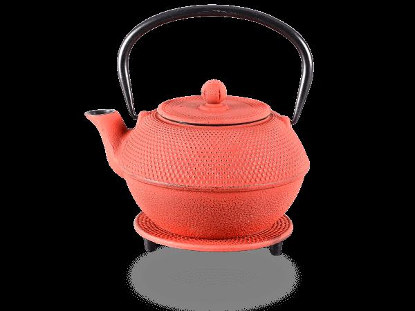 Teekanne Gusseisen new Arare kirschrot mit Sieb