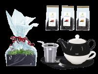 Tee Geschenk Tea for One Lena schwarz/weiß mit Sieb und Komfortteller mit Schwarztee