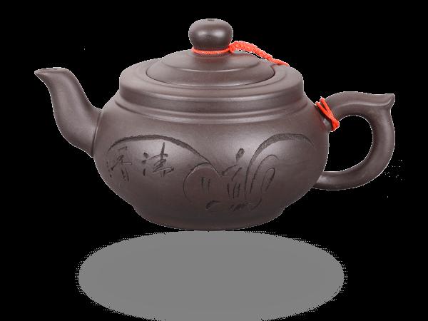 Chinesische Teekanne Ton 400ml flach dunkel
