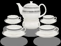 Buchensee Teeservice Porzellan mit Stövchen Rautendeko, Fine Bone China