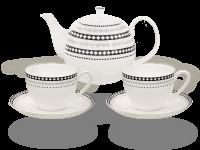 Buchensee Fine Bone China Kaffeeservice: Kaffeekanne 1,5 Liter + 2 Kaffeetassen + 2 Unterteller