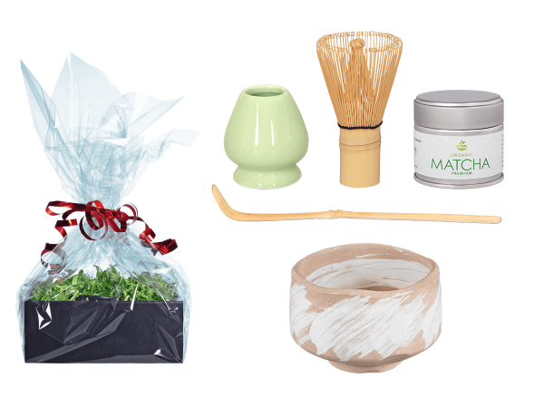 Tee Geschenk Matchaset, original Japan, Pinseldesign beige/weiß