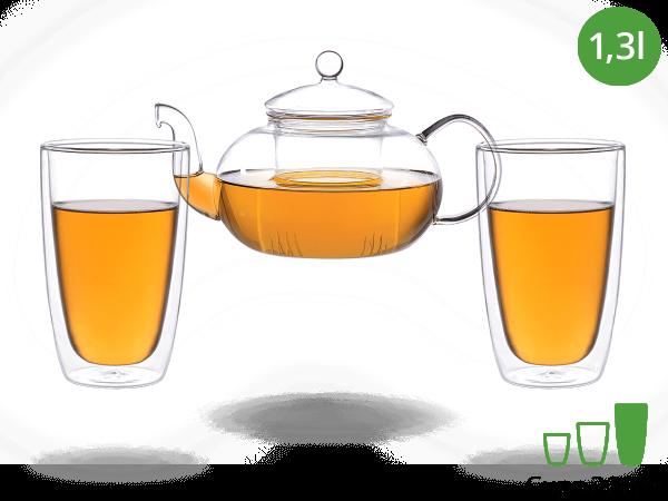 Teeservice Melina: Glaskanne 1,3 Liter + 2 Glasbecher 380ml