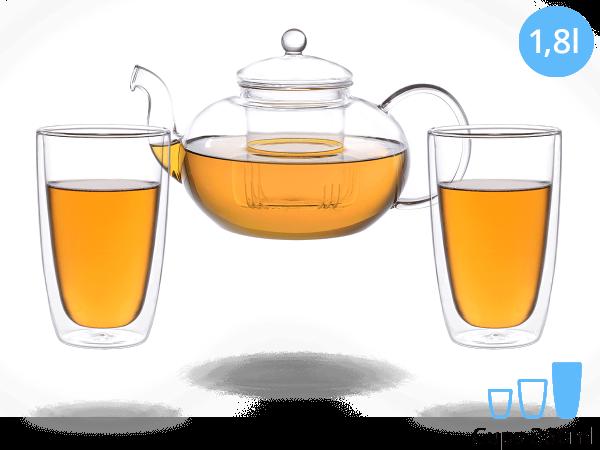 Teeservice Melina: Glaskanne 1,8 Liter + 2 Glasbecher 380ml