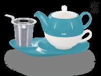 Tea for one, Lena 500 ml, Crystal Bone China, türkis, Ablageteller, Sieb