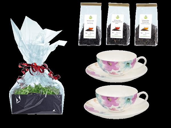 Tee Geschenk Teetassen, Fine Bone China, Blumendeko