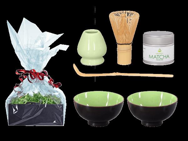Tee Geschenk Matchaset, sommergrün, 2 Schalen