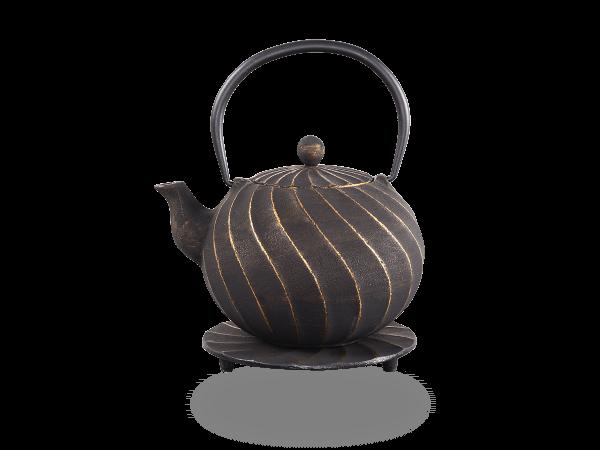 Teekanne Gusseisen Bara 1,0l schwarz-gold mit Sieb