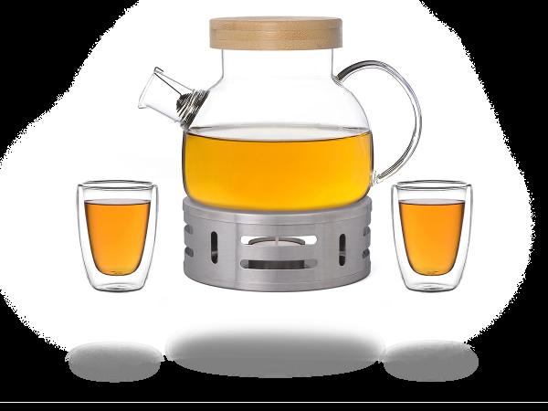 Kira Teeservice Glas 900ml, Stövchen aus Edelstahl, 2 doppelwandige Gläser