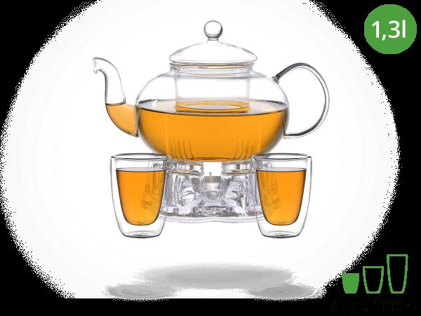 Teeservice Glas 1,3l mit Stövchen aus Glas, doppelwandige Gläser 100ml