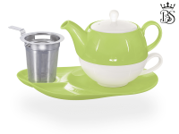 Tea for one, Lena 500 ml, Crystal Bone China, grün, Ablageteller, Sieb