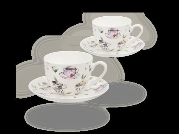 Buchensee Kaffeetassen Tassendeko, Fine Bone China Porzellan