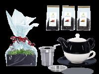 Tee Geschenk Tea for One Lena schwarz/weiß mit Sieb Rundteller mit Schwarztee