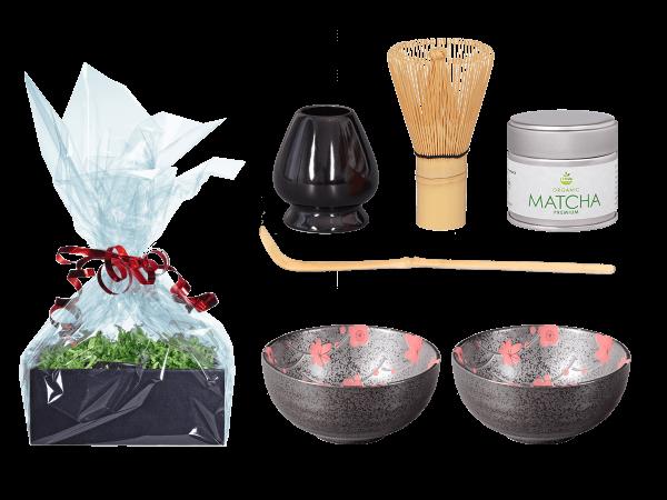 Tee Geschenk Matchaset, Blütendesign rot, 2 Schalen