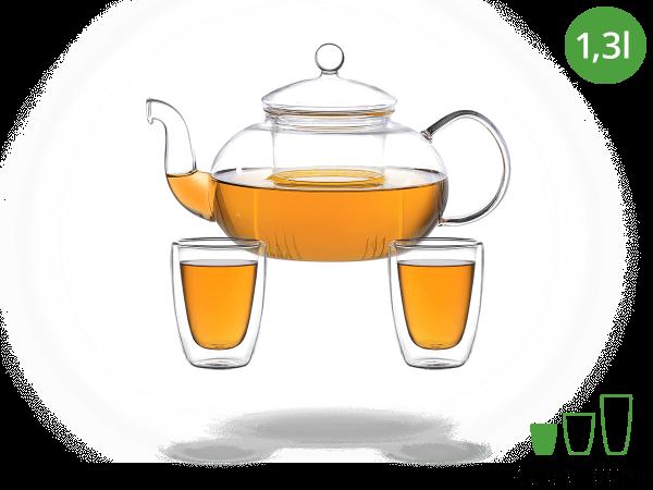 Teeservice Glas 1,3l Teekanne und doppelwandigen Gläsern 100ml
