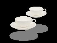 Buchensee Teetassen Set weiß, Fine Bone China Porzellan 2 Sets