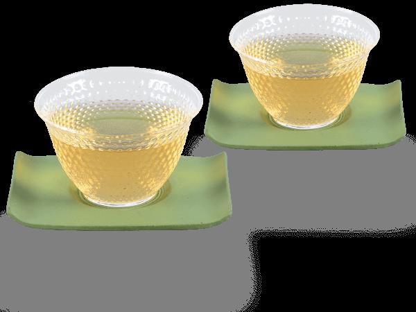 2 Glascups Arare klar je 90ml und 2 Gusseisen-Untersetzer rechteckig in hellgrün