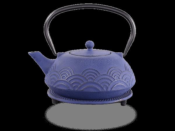 Teekanne Gusseisen Ren 1,2l marinblau mit Sieb