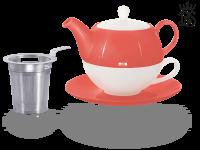 Tea for one, Lena 500 ml, Crystal Bone China, coralrot, Sieb