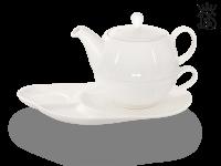 Tea for one, Lena 500 ml, Crystal Bone China, weiß, Komfortteller