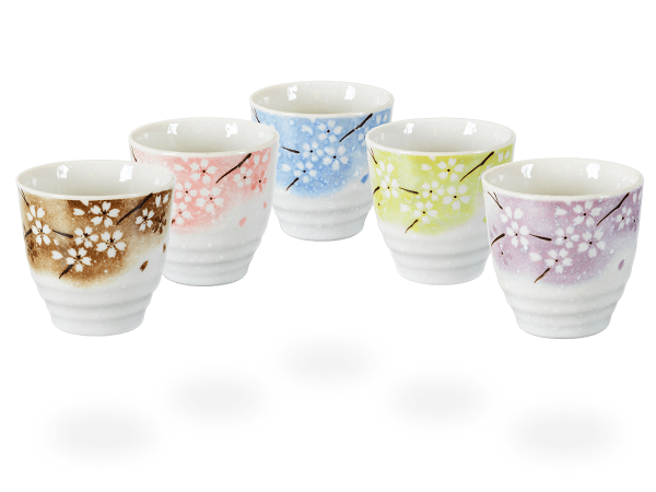 Japanische Teetassen Blumendesign, 5 Stk, teilflächig