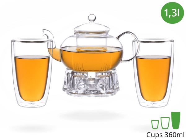 Teeservice Melina: Glaskanne 1,3 Liter + 2 Glasbecher 380ml + Glas-Stövchen