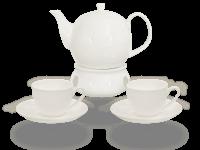 Buchensee Fine Bone China Kaffeeservice: Kaffeekanne 1,5 Liter + 2 Kaffeetassen + 2 Unterteller + Stövchen