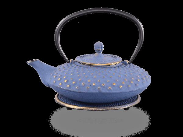 Teekanne Gusseisen Aneko 0,6l japanblau-gold mit Sieb