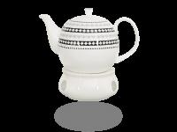 Buchensee Fine Bone China Tee- oder Kaffeeservice: Kanne 1,5 Liter + Stövchen