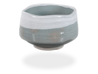 Matcha Schale handgefertigt grau-weiß 500ml, original Japan