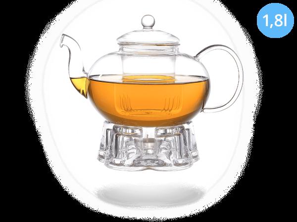 Teeservice Melina: Glaskanne 1,8 Liter + Glas-Stövchen