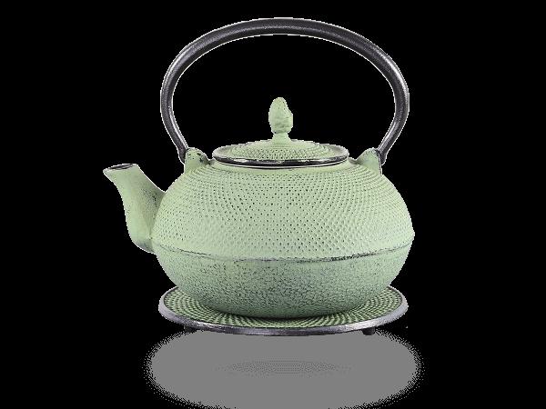 Teekanne Gusseisen Arare hellgrün mit Sieb