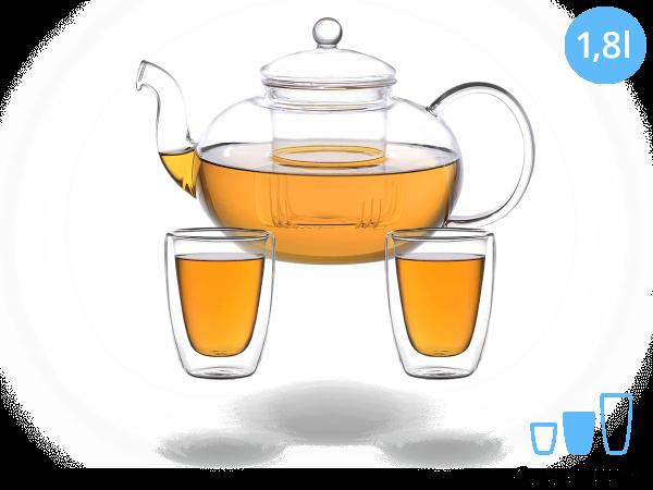 Teeservice Melina: Glaskanne 1,8 Liter + 2 Glasbecher 200ml