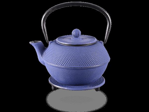 Teekanne Gusseisen new Arare marinblau mit Sieb