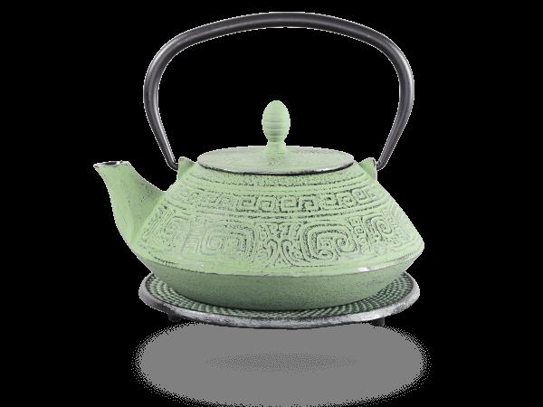 Teekanne Gusseisen Akira 1,2l hellgrün mit Sieb