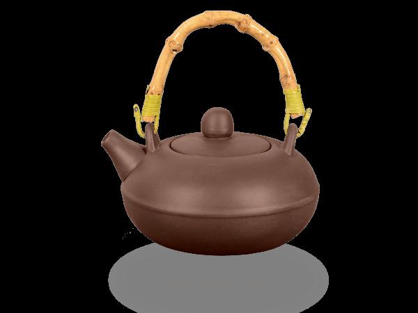 Chinesische Teekanne Ton flach 350ml glatt mit Bambushenkel dunkel