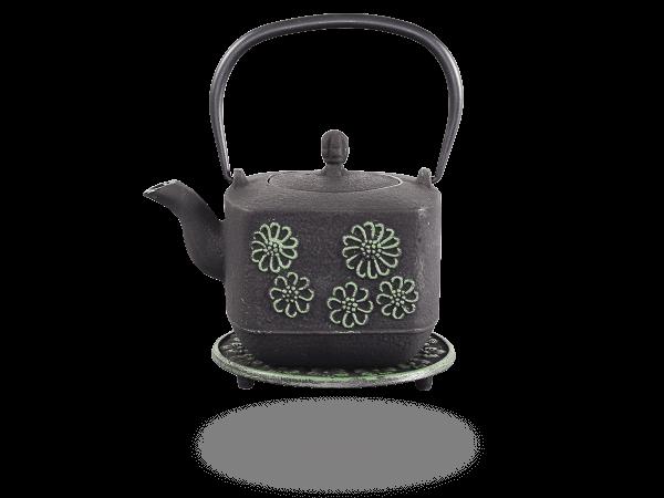 Teekanne Gusseisen Hiko 0,8l schwarz-hellgrün mit Sieb