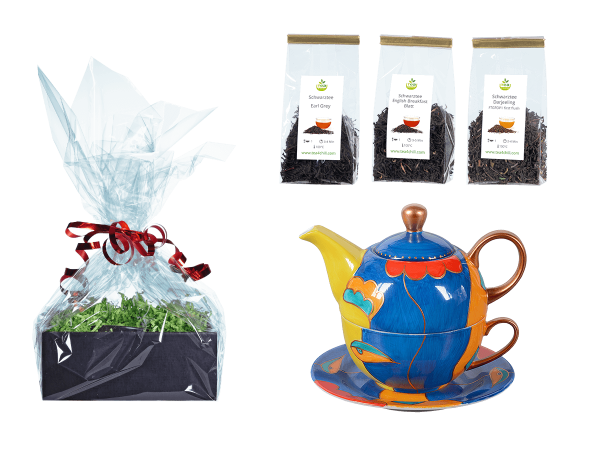 Tee Geschenk Tea for One, handbemalt, dunkelblau