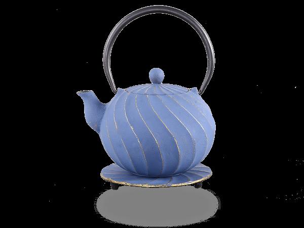 Teekanne Gusseisen Bara 1,0l japanblau-gold mit Sieb