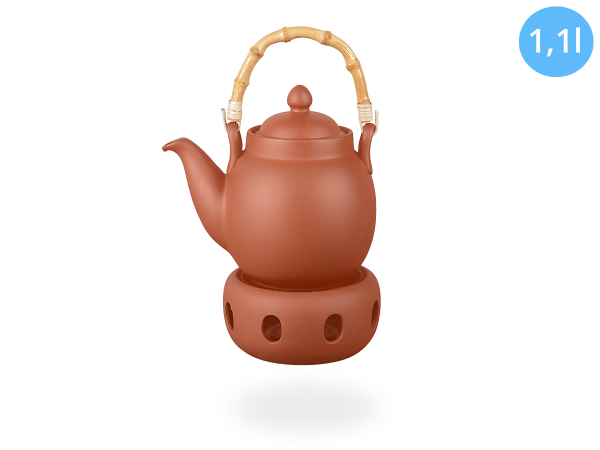 Tenno Teekanne mit Stövchen aus Ton 1,1l