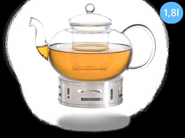 Teeservice Melina: Glaskanne 1,8 Liter + Edelstahl-Stövchen