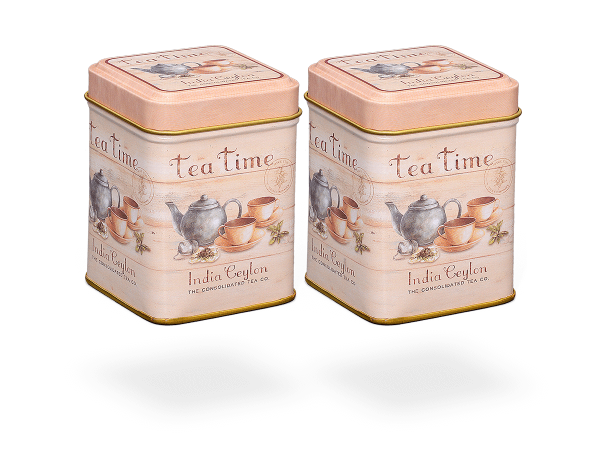 """Teedosen """"Tea Time"""" eckig aus Metall für losen Tee 50g, Stülpdeckel, 2 Stk"""