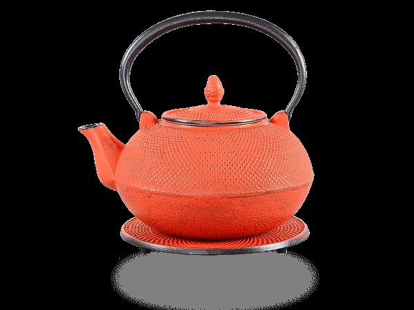 Teekanne Gusseisen Arare karminrot mit Sieb