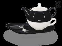 Tea for one, Lena 500 ml, Crystal Bone China, schwarz-schwarz, Ablageteller