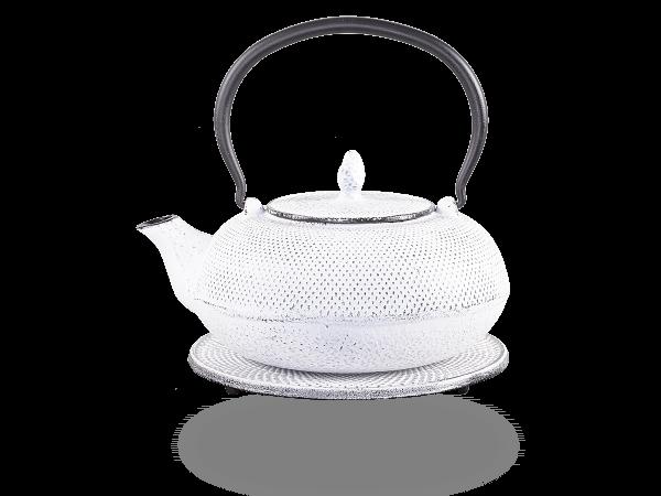 Teekanne Gusseisen Arare 1,2l weiß mit Sieb
