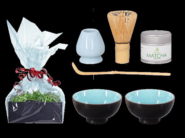 Tee Geschenk Matchaset, himmelblau, 2 Schalen
